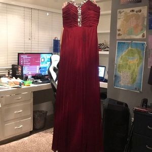 Maroon long prom dress